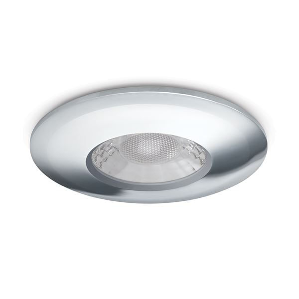 JCC V50 LED Downlight - 7 Watts, Fire Rated, IP65, 3000K and 4000K Colour Switchable, Chrome Bezel for installation recessed into ceilings in the bathroom, kitchen or hallway