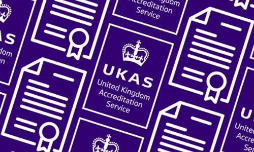 White ISO 9001 UKAS Management Systems Logo and Certificate Icon in a repeating angled pattern and purple background