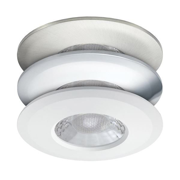 JCC V50 LED Downlight - 7W, Fire Rated, IP65, 3000K/4000K, 3 Bezels, White, Brushed Nickel and Chrome for installation recessed into ceilings in the bathroom, kitchen or hallway