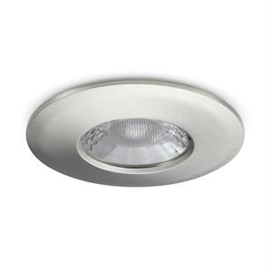JCC V50 LED Downlight - 7 Watts, Fire Rated, IP65, 3000K and 4000K Colour Switchable, Brushed Nickel Bezel for installation recessed into ceilings in the bathroom, kitchen or hallway