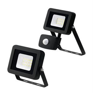 10W LED Floodlight IP65 4000K Black with PIR JC45200BLK and JC45201BLK