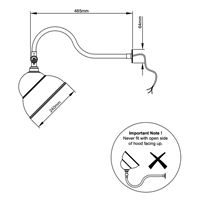 Swan Neck Sign Light Technical Drawing guidance for installation on signage lighting applications